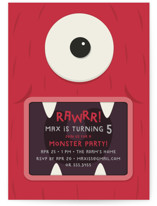 This is a red kids birthday invitation by Guess What Design Studio called Monster Party with standard printing on signature in standard.