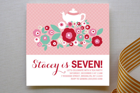 Retro Floral Garden Children's Birthday Party Invitations