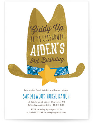 Cowboy Children's Birthday Party Invitations
