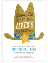 This is a blue kids birthday invitation by Kelly Nasuta called Cowboy with standard printing on signature in standard.