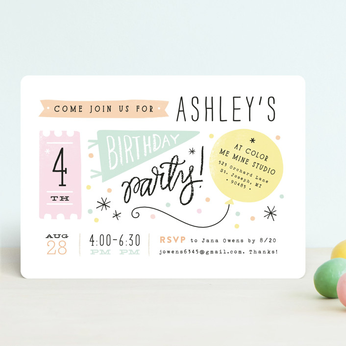 """Details Details"" - Children's Birthday Party Invitations in Cotton Candy by Jennifer Wick."