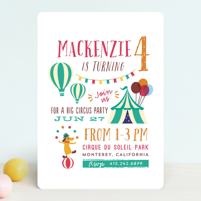 """Fritelle"" - Children's Birthday Party Invitations in Cherry by chocomocacino."