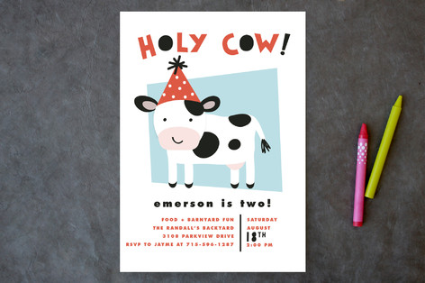 Holy Cow Childrens Birthday Party Invitations by – Cow Party Invitations