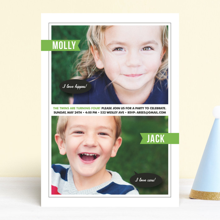 """""""Twin Voice"""" - Children's Birthday Party Invitations in Kelly Green by Sara Hicks Malone."""