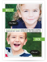 This is a green kids birthday invitation by Sara Hicks Malone called Twin Voice with standard printing on smooth signature in standard.