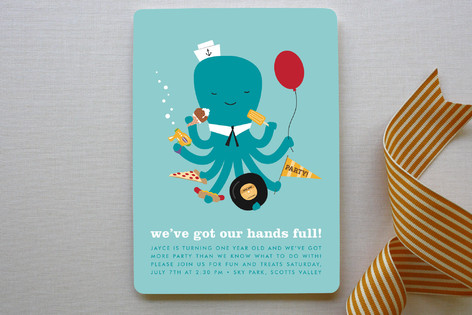 Weve Got Our Hands Full Children's Birthday Party Invitations
