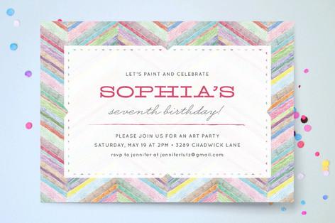 Bright Chevron Children's Birthday Party Invitations