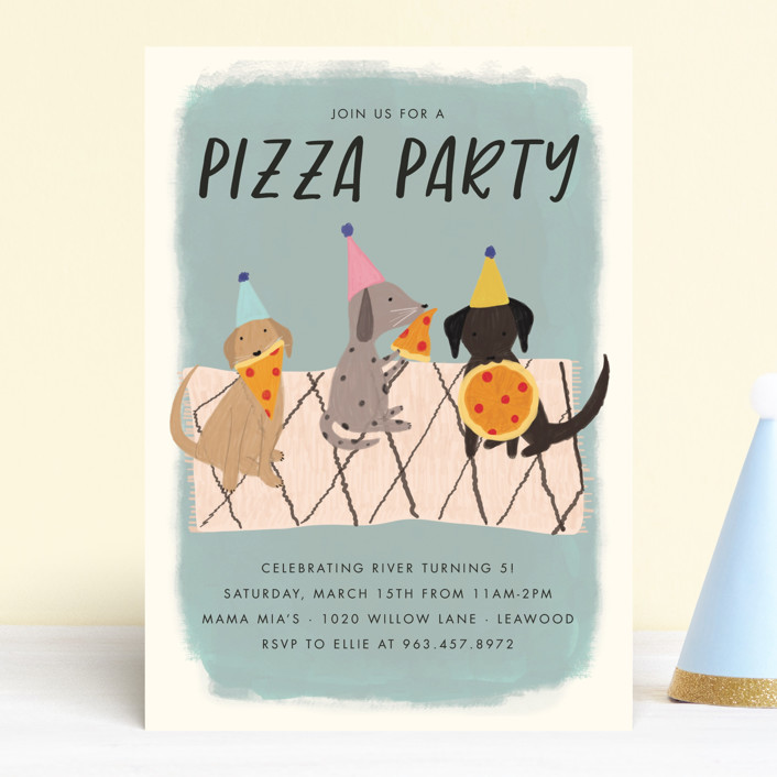 """Puppy Pizza Party"" - Children's Birthday Party Invitations in Cobblestone by Stephanie Given."