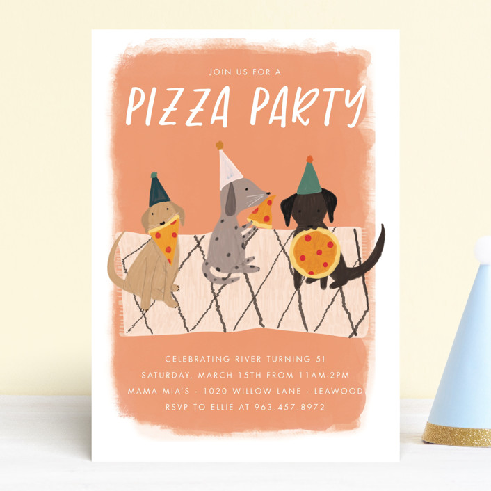 """""""Puppy Pizza Party"""" - Children's Birthday Party Invitations in Cobblestone by Stephanie Given."""