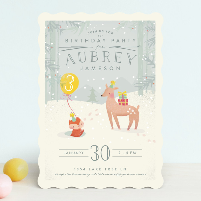 """Winter"" - Children's Birthday Party Invitations in Lemon by Lori Wemple."