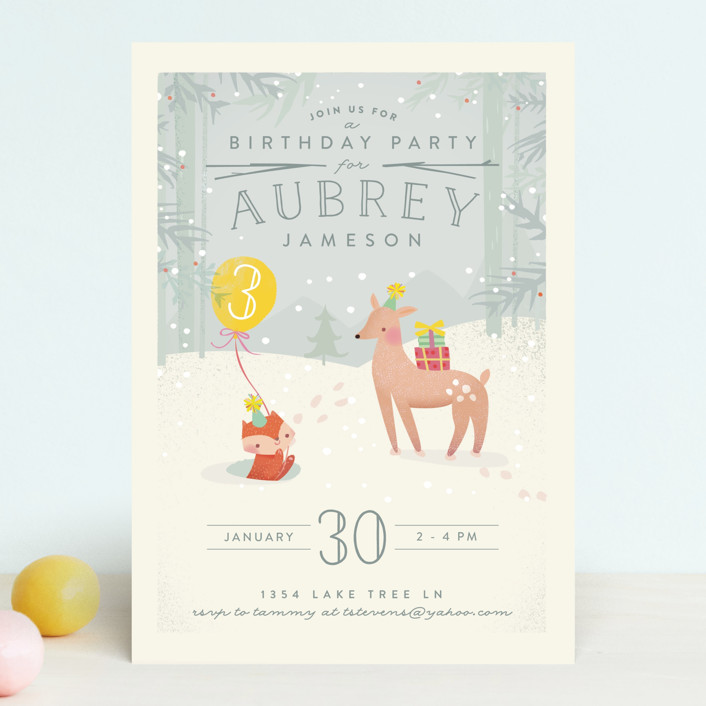 """""""Winter"""" - Children's Birthday Party Invitations in Lemon by Lori Wemple."""