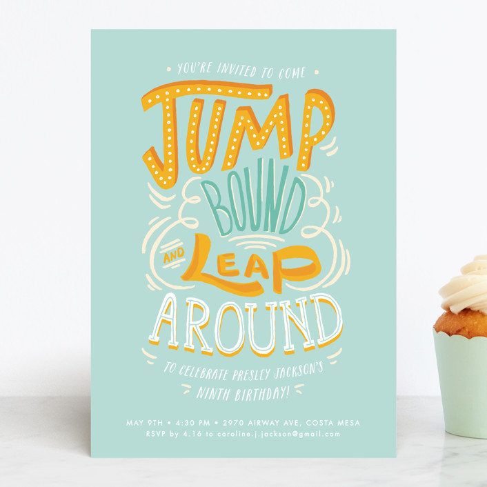 """""""Jump Bound & Leap"""" - Children's Birthday Party Invitations in Sky by Shiny Penny Studio."""