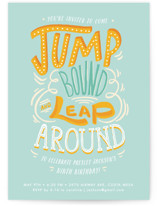 This is a blue kids birthday invitation by Shiny Penny Studio called Jump Bound & Leap with standard printing on doublethick in standard.