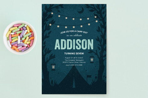 Midnight Camp Out Children's Birthday Party Invitations