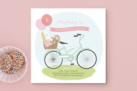 Pretty Picnic Children's Birthday Party Invitations