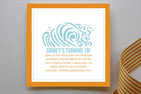 Ridin the Waves Children's Birthday Party Invitations