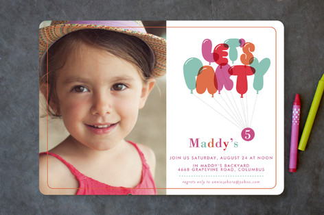 Dont Pop The Balloons Children's Birthday Party Invitations