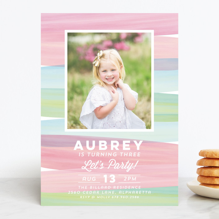 """Watercolor Wishes"" - Editor's Picks Children's Birthday Party Invitations in Bubblegum by Red Impressionz."