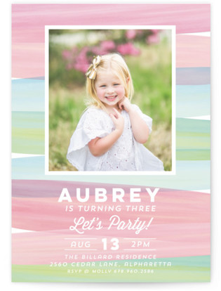 Watercolor Wishes Children's Birthday Party Invitations