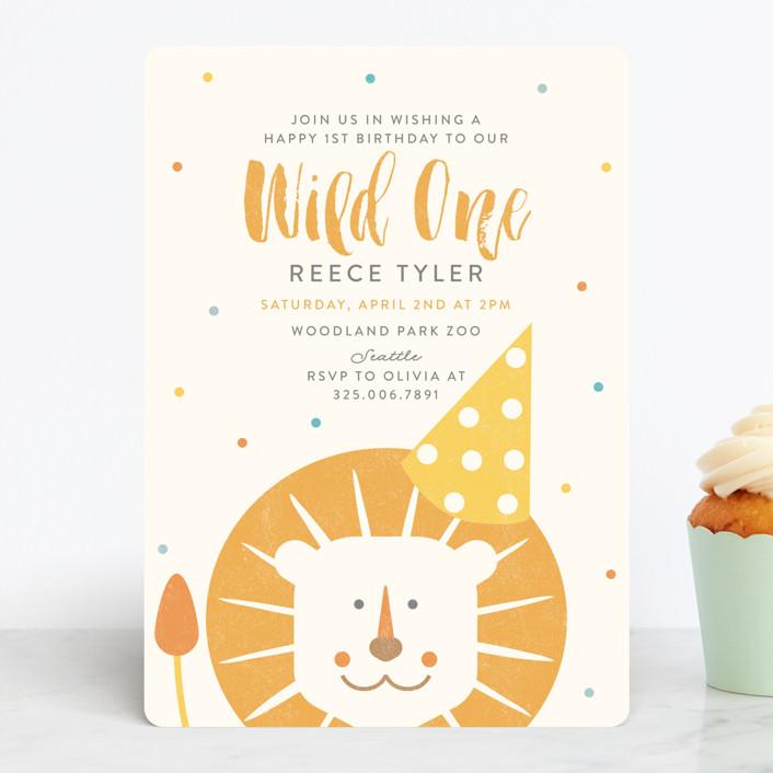 """Wild One"" - Children's Birthday Party Invitations in Dandelion by Lisa Cersovsky."