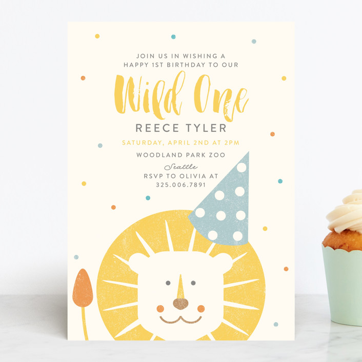 """Wild One"" - Children's Birthday Party Invitations in Dandelion by Lisa Cersovsky."