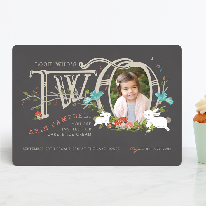 """""""Two are Thee"""" - Children's Birthday Party Invitations in Chalkboard by CaroleeXpressions."""