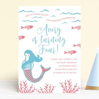 Darling Mermaid Children's Birthday Party Invitations