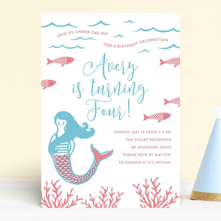 """""""Darling Mermaid"""" - Children's Birthday Party Invitations in Bubblegum by Oscar & Emma."""