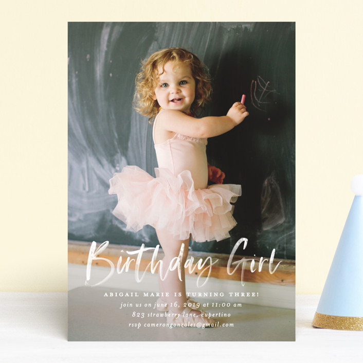 """""""Typography Clouds"""" - Children's Birthday Party Invitations in Cloud by Simona Camp."""