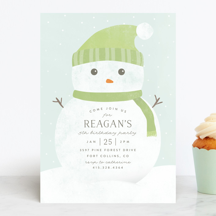 """""""Frosty"""" - Children's Birthday Party Invitations in Lime by peony papeterie."""