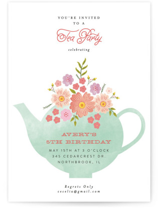 Tea Party Kids Birthday Invitations Minted