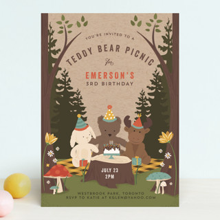 Teddy Bear Picnic Children's Birthday Party Invitations