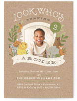 This is a brown kids birthday invitation by Jennifer Wick called Zoo friends with standard printing on smooth signature in standard.