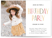 This is a colorful kids birthday invitation by Iveta Angelova called Happy Birthday with standard printing on signature in standard.