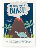 This is a blue kids birthday invitation by Karidy Walker called volcano blast with standard printing on signature in standard.