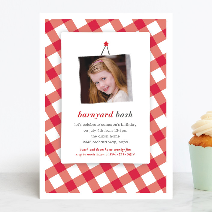 """""""Barnyard Bash"""" - Children's Birthday Party Invitations in Apple by Michelle Poe."""