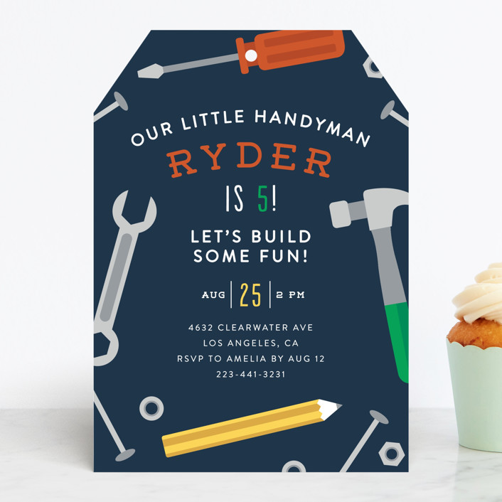"""""""Handy Man"""" - Children's Birthday Party Invitations in Navy by Ink and Letter."""