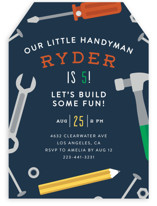 This is a blue kids birthday invitation by Ink and Letter called Handy Man with standard printing on signature in standard.