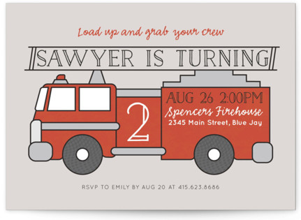 Fire House Party Children's Birthday Party Invitations