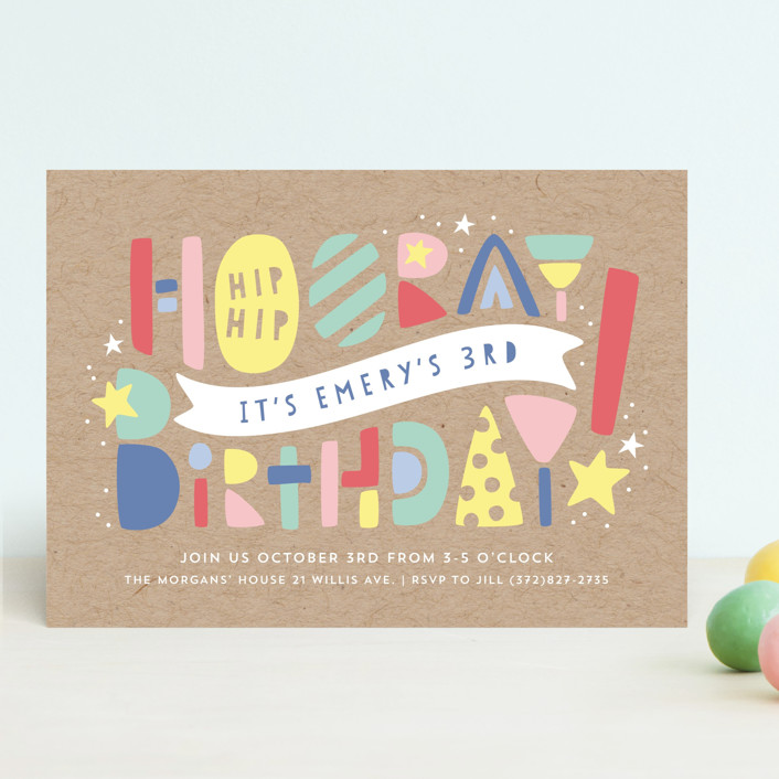 """Colorblock"" - Children's Birthday Party Invitations in Kraft by Laura Hankins."