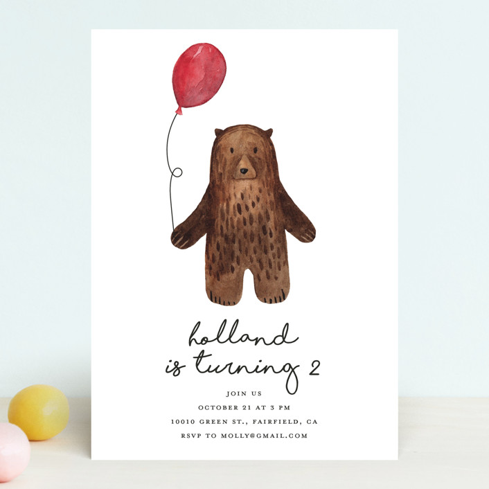 """Bear"" - Children's Birthday Party Invitations in Red Candy by Remioni."