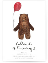This is a brown kids birthday invitation by Remioni called Bear with standard printing on signature in standard.