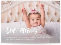 This is a pink kids birthday invitation by Susan Brown called Already with standard printing on smooth signature in standard.