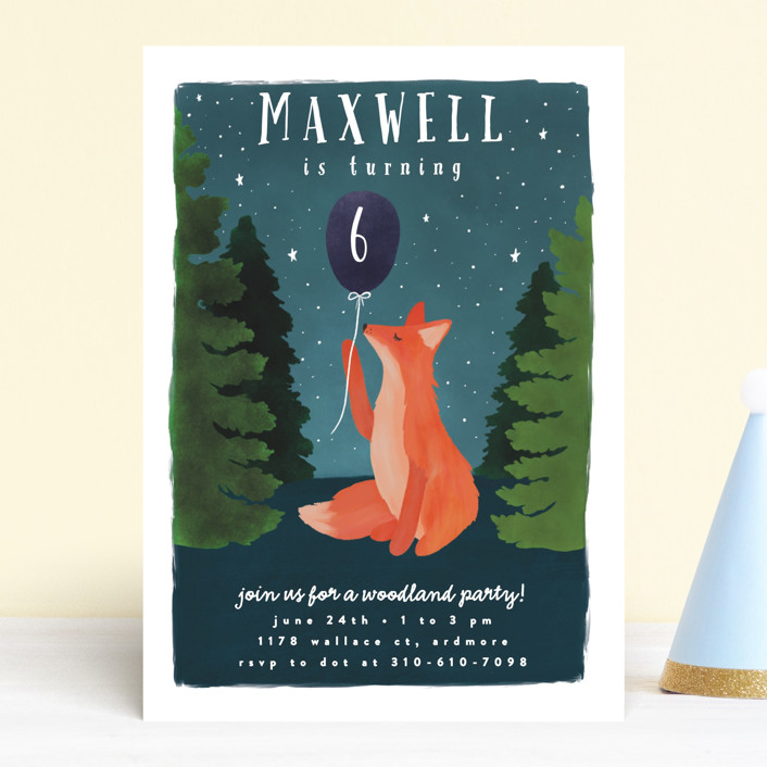 """Woodland Fox"" - Children's Birthday Party Invitations in Night by Everett Paper Goods."