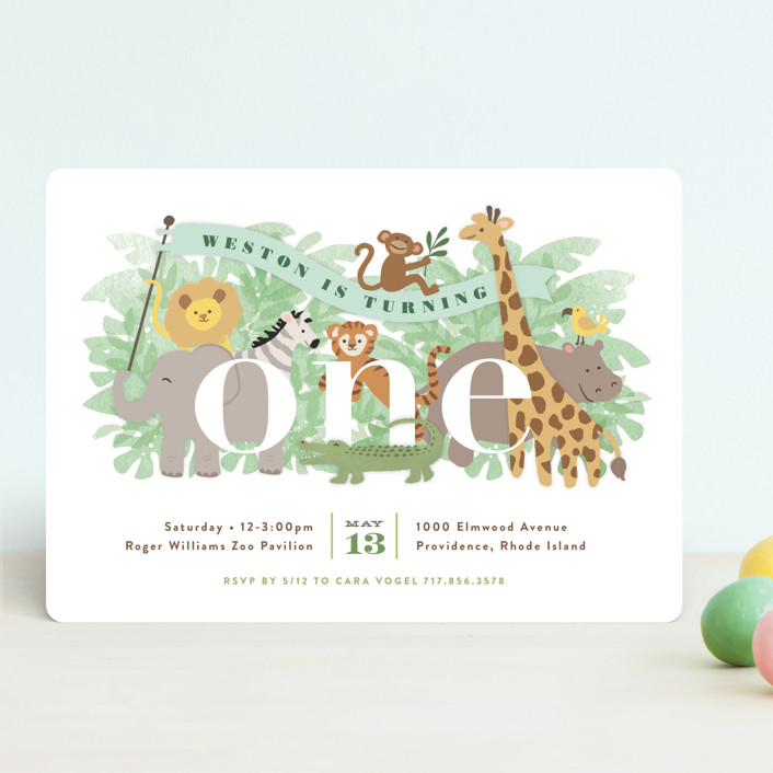 """Jungle One"" - Children's Birthday Party Invitations in Jungle by Jennifer Wick."