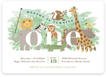 This is a green kids birthday invitation by Jennifer Wick called Jungle One with standard printing on signature in standard.