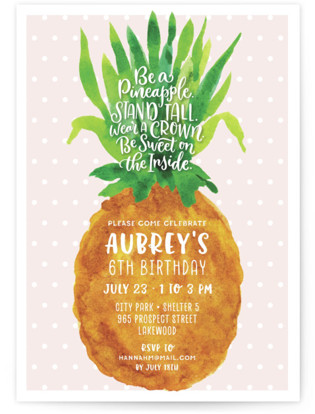 Be A Pineapple Children's Birthday Party Invitations