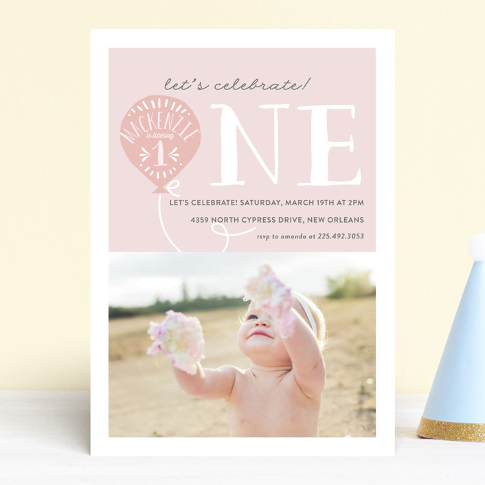 """Balloon"" - Children's Birthday Party Invitations in Cotton Candy by Chasity Smith."