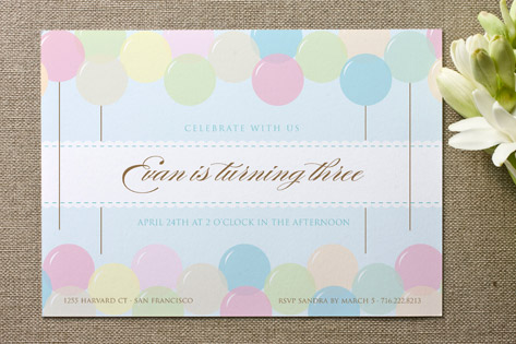 Floating Balloon Children's Birthday Party Invitations