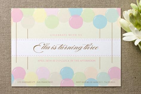 Floating Balloon Children's Birthday Party Invitations